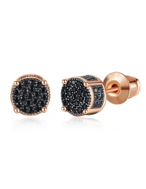Fashion Rose Gold Diamond Round Earrings