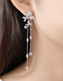 Fashion Platinum Tassel Flower Earrings