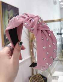 Fashion Pink Cloth Hot Drilling Knotted Wide-brimmed Headband