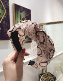 Fashion Pink Lace Gauze Fabric Hollow Knotted Wide-brimmed Headband