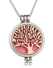Fashion Ancient Red Copper Life Tree Opens Luminous Aroma Necklace