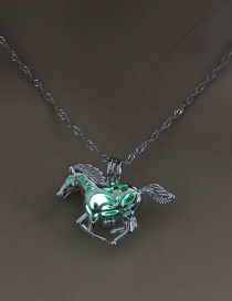Fashion Yellow-green Horse Hollow Horse Night Bead Necklace
