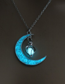 Fashion Blue-green (light Blue) Hollow Spiral Moon Luminous Necklace