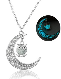Fashion Light Blue Moon + Owl Moon Owl Night Light Necklace