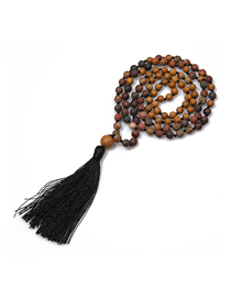 Fashion Black Natural Gemstone Tassel Knotted Necklace