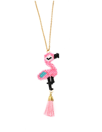 Fashion Pink Rice Beads Woven Flamingo Stainless Steel Necklace