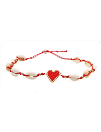 Fashion Red Rice Beads Woven Shell Love Necklace