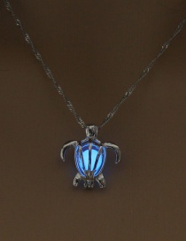 Fashion Sky Blue Turtle Turtle Night Bead Necklace