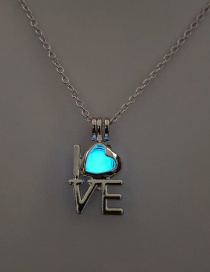Fashion Sky Blue Love Hollow Fluorescent Necklace