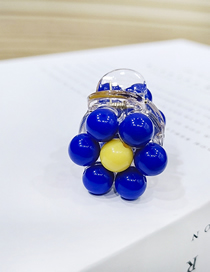 Fashion Royal Blue Crystal Beads Small Flower Grab Small Flower Hairpin Candy Color Ball Grab Clip