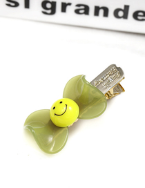 Fashion Green Bow Tie Smiley Duckbill Clip Acrylic Hairpin