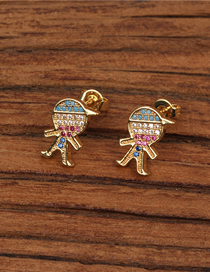 Fashion Boy Gold Asymmetrical Boy Girl Micro Zircon Earrings
