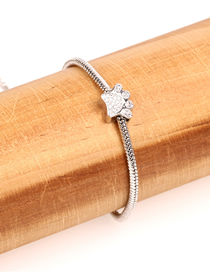 Fashion Silver Bear's Paw-studded Adjustable Bracelet