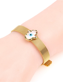 Fashion Gold Diamond Seashell Palm Stainless Steel Mesh Strap Bracelet