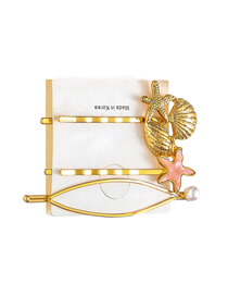 Fashion Starfish Set Alloy Conch Pearl Hairpin Set