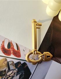 Fashion Key Geometric Lock Key Chain Brooch
