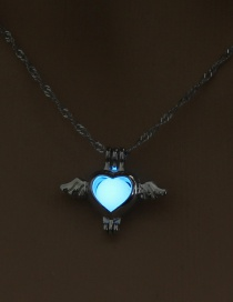 Fashion Sky Blue Sky Makes The Heart Openwork Wings Hearts Night Light Cage Necklace