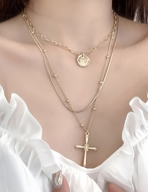 Fashion Gold Multilayer Cross Necklace