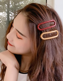 Fashion Dark Red Elliptical Hollow Oil Drop Hair Clip