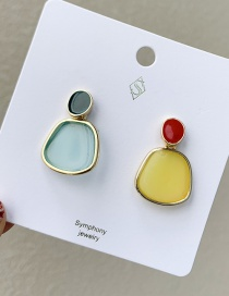 Fashion Sky Blue Yellow Series Alloy Drop Oil Acrylic Stud Earrings