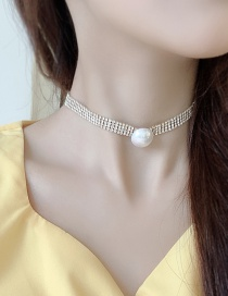 Fashion Gold Imitation Pearl Full Diamond Small Waist Necklace