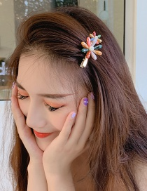 Fashion Flower Hairpin Geometric Diamond-studded Hairpin