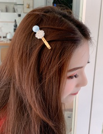 Fashion Blue Alloy Beaded Pearl Hairpin