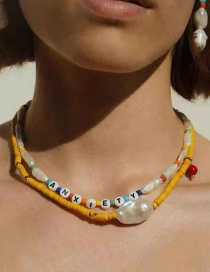 Fashion Yellow Resin Beaded Pearl Necklace