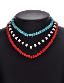 Fashion Color Wooden Beaded Necklace Set Of 3