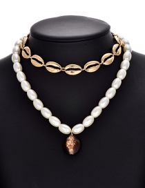 Fashion White Alloy Beaded Pearl Shell Necklace Set Of 2