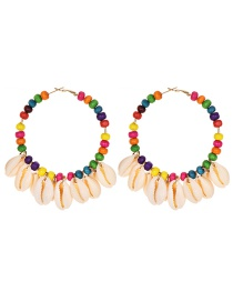 Fashion Color Alloy Wood Beaded Ring Shell Earrings