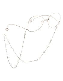 Fashion Silver Crystal Beads Color Matching Beaded Metal Glasses Chain