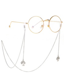 Fashion Silver Rhinestone Life Tree Chain Metal Glasses Chain