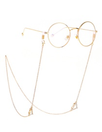 Fashion Gold Rhinestone Number 8 Peach Heart Chain Metal Glasses Chain