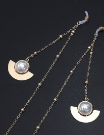 Fashion Gold Scalloped Pearl Beaded Metal Chain