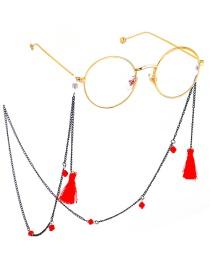 Fashion Black Metal Fringed Crystal Glasses Chain