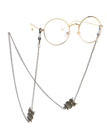 Fashion Bronze Owl Glasses Chain