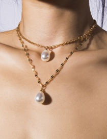Fashion Gold Shaped Double-decker Drop-shaped Pearl Geometric Necklace