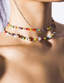 Fashion Color Geometric Beaded Beads Letter Love Necklace