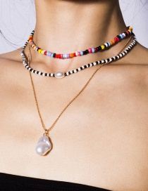 Fashion Gold Geometric Multilayer Shaped Pearl Rice Bead Necklace
