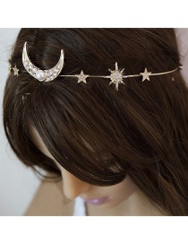 Fashion Gold Zircon Geometry Star Moon Micro Inlay Pearl Headband