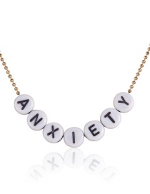 Fashion Gold Anxiety Square Geometric Letter Necklace