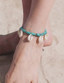 Fashion Green Geometric Fringed Wood Beads Shell Anklet