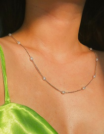 Fashion Necklace White K Chain Geometric Pearl Necklace