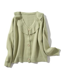 Fashion Green Solid Color Pearl Buckle Knit Cardigan