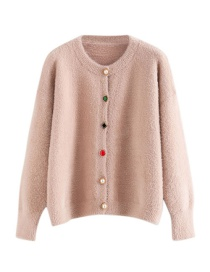 Fashion Pink Gemstone Buckle Imitation Mane Cardigan