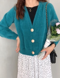 Fashion Peacock Blue Button Imitation Mane Cardigan