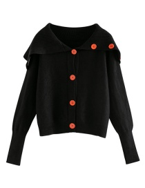 Fashion Black Thirteen Buckle Short Large Lapel Sweater