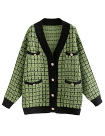 Fashion Green Colorblock Plaid Knit Cardigan