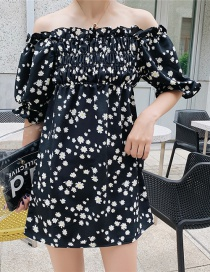 Fashion Black Daisy Floral One-shoulder Dress